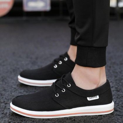 Men's Casual Lace up Canvas Loafer Shoes