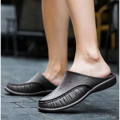 Men Plus Size Breathable Summer Genuine Leather Breathable Half Drag Slippers
