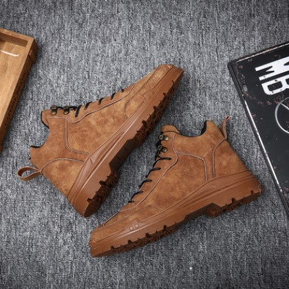 Men Plus Size High-top British Style Waterproof Boots