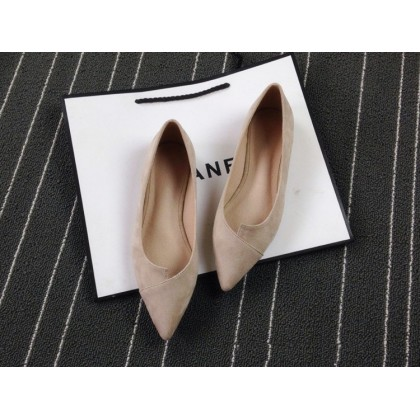 Women Plus Size Mori Girl Style Suede Pointed Fat Shoes