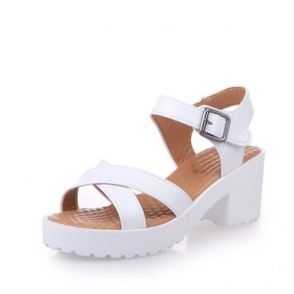 Women Plus Size Korean Trend Open Toe Thick Heel Square Sandals