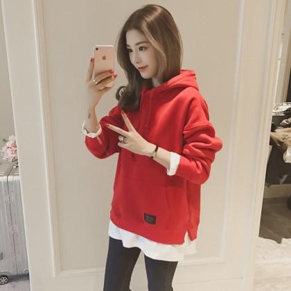 Women Plus Size Korean Trendy Fashion Hoody Plain Casual Outerwear