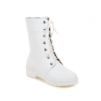 Women Fashion Trendy Korean Plus Size Flats Leather High Cut Boots